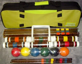 """Vintage New Yard & Park Deluxe Croquet Set 6 Players 27"""" Mallets Carryin... - $69.99"""