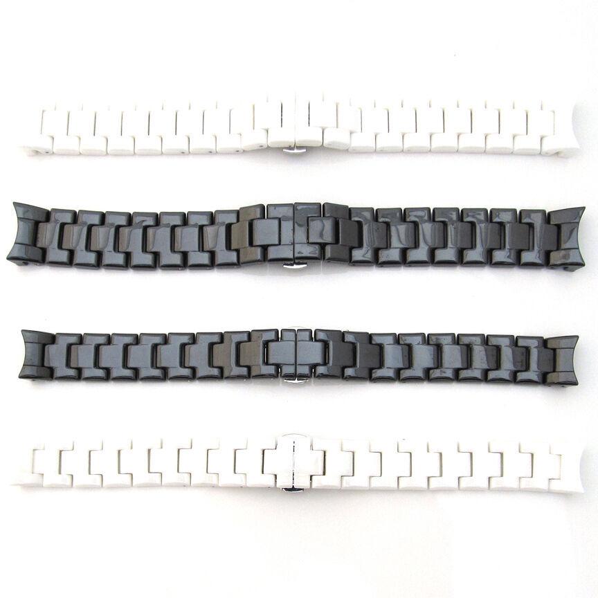 For EMPORIO ARMANI CERAMICA Watch Strap CERAMIC Bracelet BLACK WHITE 18mm 22mm - $85.00