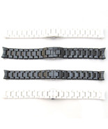 For EMPORIO ARMANI CERAMICA Watch Strap CERAMIC Bracelet BLACK WHITE 18m... - $91.78