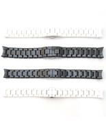 For EMPORIO ARMANI CERAMICA Watch Strap CERAMIC Bracelet BLACK WHITE 18m... - $85.00