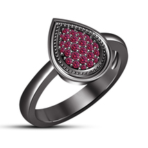 14k Black Rhodium Plated 925 Silver Round Pink Sapphire Pear Shape Women's Ring - $81.20