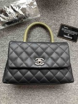 AUTHENTIC BRAND NEW CHANEL QUILTED BLACK CAVIAR SMALL COCO PYTHON HANDLE BAG RHW