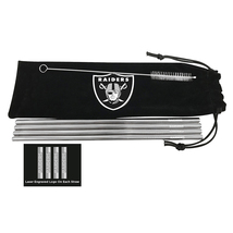 NFL Oakland Raiders Stainless Steel Straws, Set Of 4 With Bag & Brush Cl... - $14.99