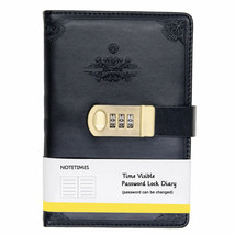 Notetimes Personal Secret Diary with Lock, A5 Black Classic Paper Journa... - $27.62