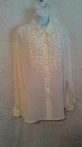 NWOT LIZ CLAIBORNE Women's LS Button-Up Ruffle Front Shirt  Size 10 colo... - $7.92