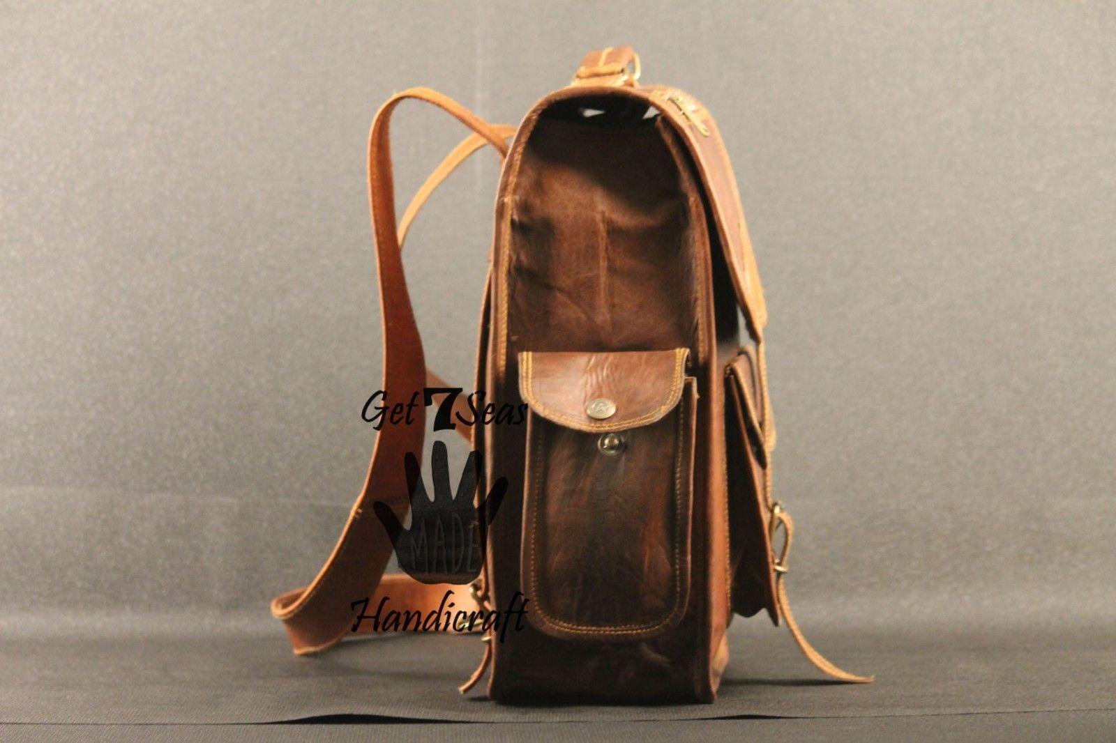 Real genuine men's leather backpack bag laptop satchel briefcase men vintage image 3