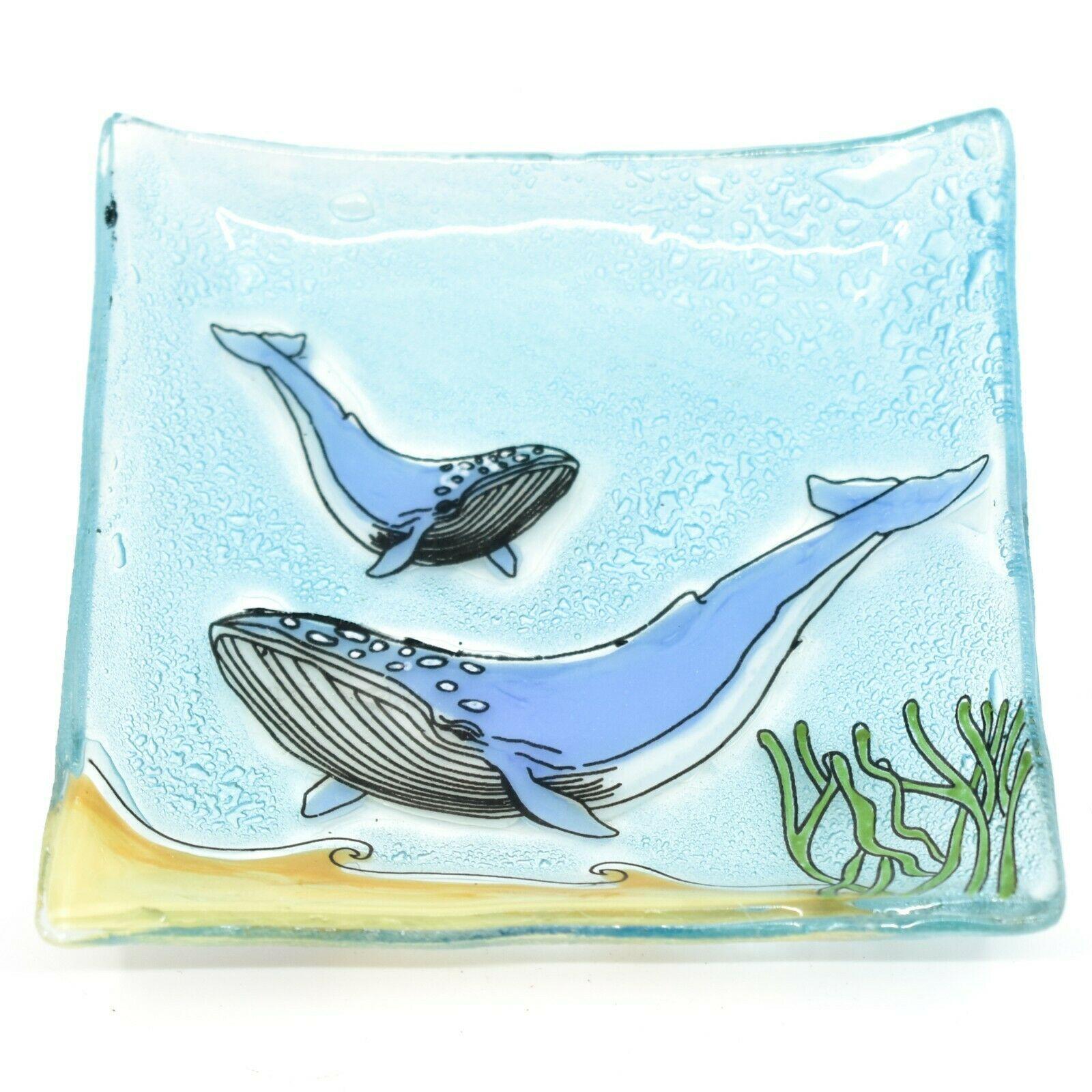 Fused Art Glass Ocean Humpback Whale Design Square Soap Dish Handmade Ecuador