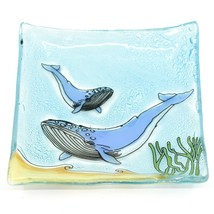 Fused Art Glass Ocean Humpback Whale Design Square Soap Dish Handmade Ecuador image 1