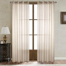 Dreamig Casa Beige Linen Sheer Curtains for Bedroom,Solid Semi Sheer Gro... - $44.36