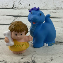 Fisher Price Little People Baby Dinosaur & Cave Man Brontosaurus Blue Rare - $14.84