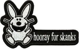 It's Happy Bunny hooray for skanks Phrase Die Cut Embroidered Patch NEW ... - $7.84