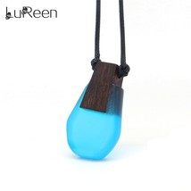 LuReen Vintage Handamde Pendant Necklaces Rope Chain Natural Wood Resin Long Nec - $13.31