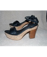 Coach GALLO SOFT NAPPA Black Chunky Platform Heel Sandal Ankle Wrap A386... - $118.80