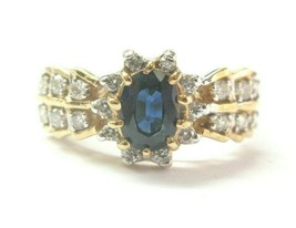 Blue Sapphire & Diamond Ring 14Kt Yellow Gold 1.06Ct 45Ct SIZEABLE - $1,299.31