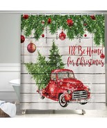 Christmas Shower Curtain, Colorful Christmas Balls with Pine Fir Tree Fa... - $39.11+