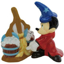 Fantasia Mickey Mouse with Broom Ceramic Salt and Pepper Shakers Set NEW... - $27.08