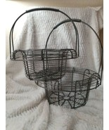 2 Vintage Round Primitive Wire Gathering Clam Eggs Country Farm Basket - $49.99