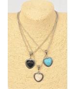 Necklace silver chain metal antique heart semiprecious stone New - $5.00