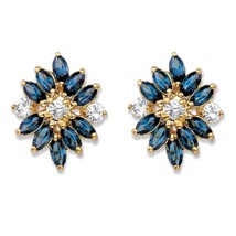Blue Crystal 18k Gold-Plated Floral Earrings MADE WITH SWAROVSKI ELEMENTS - $20.99