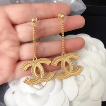 100% Authentic CHANEL XL Large Baroque Gold CC Dangle Earrings