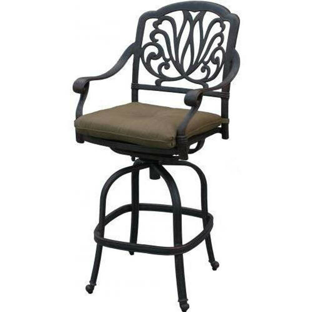 Outdoor patio bar stool swivel Elisabeth cast Aluminum furniture Bronze
