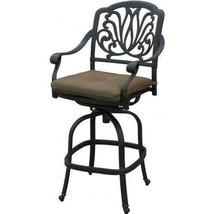 Outdoor patio bar stool swivel Elisabeth cast Aluminum furniture Bronze image 1