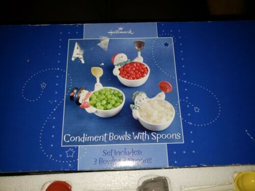 Primary image for HALLMARK CHRISTMAS SNOWMAN CONDIMENT BOWLS WITH SPOONS NIB