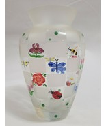 Lenox Hand Painted Flowers/Bug/Insects Glass Vase Clear & Frosted Block - $52.90