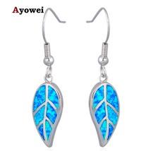 Unique Leaf Design Wholesale Retail Blue Fire Opal Silver Drop Dangle Ea... - $13.40