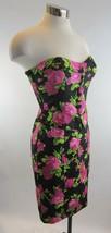 4 BETSEY JOHNSON Black Rose Smocked Sweetheart Strapless Peplum Dress - $89.09