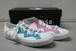 NIB NEW Women sz 8.5 Converse Shoe Sneaker White Teal Peony Box CTAS OX image 1