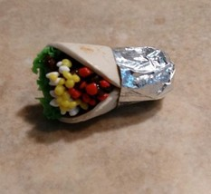 Unique Miniature Burrito Brooch Pin Clay Mexican Food Burrito Pin - $7.00