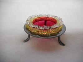 Victorian Rubina Verde Glass Master Salt Insert with Silver Plate Frame - $262.84