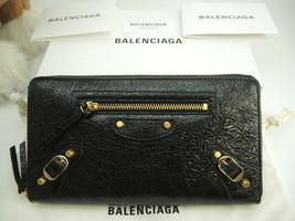 BALENCIAGA Auth Calf leather CLASSIC CONTINENTAL Zip Long Wallet Noir Bl... - $728.99