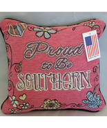 "Bekel ""Proud to be Southern"" Decorative Accent Toss Throw Pillow Pink fl... - $6.80"