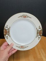 Noritake 42200 Luncheon Plate Orange Blue Flowers Raised Gold 8 3/4 Inches - $11.83