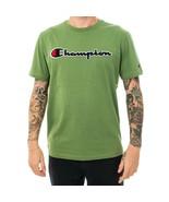 T-SHIRT MAN  CHAMPION CREWNECK T-SHIRT 213521.GS059 CHEST LOGO Verde - $36.15