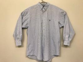 Ralph Lauren Yarmouth Mens Large 16.5 32/33 Dress Shirt Long Sleeve Blue Plaid - $24.74