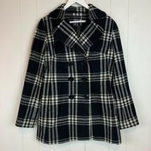 Wool Blend Peacoat Womens Size 10 Plaid Black White Career Coat New York... - $34.60
