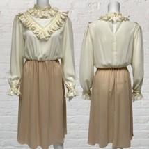 Vintage Tan Ivory Long Sleeve Midi Dress Women's Size11/12 (D-3E) - $19.70
