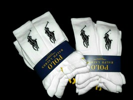 Polo Ralph Lauren men's 12 pair White crew large pony logo athletic Socks - $50.45