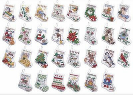 Bucilla Tiny Stocking Ornaments cross stitch Kit 3.5x4in 14 ct aida XMAS 30 - $23.99