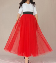 A Line Long Tulle Skirt High Waisted Red Long Tulle Skirt Puffy Tutu Pockets image 7