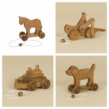 WOOD PULL TOYS Horse Boat Grasshopper Dog AMISH HANDMADE Homeschool Wald... - $48.52