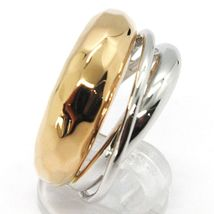 18K ROSE WHITE GOLD BAND RING, HALF HAMMERED AND HALF MULTI WIRES, BICOLOR image 3