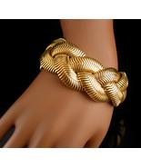 "AWESOME Golden braid mesh bracelet /  HEAVY 7"" Long / 1  1/4"""" WIDE / un... - $110.00"