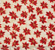 RJR Holiday Accents Poinsettias Linen Metallic100% cotton fabric by the ... - $8.78
