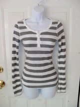 Miley Cyrus White/Gray Striped Long Sleeve Shirt Size M Women's EUC - $15.60