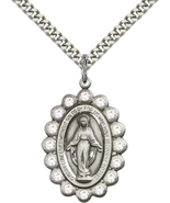 Miraculous Medal/Pendant Silver Filled on a 24 inch Light Rhodium Heavy ... - $68.99