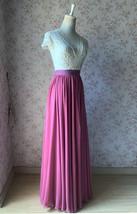 2021 Floor Length Chiffon Skirt High Waist Wedding Skirt Outfit Plum Plus Size  image 6